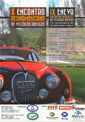 Cartaz promocional do X Encontro Pernambucano de Veículos Antigos.
