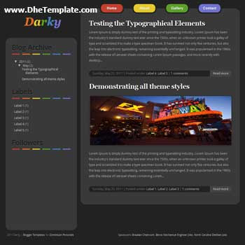 Darky blogger template. minimalist design template