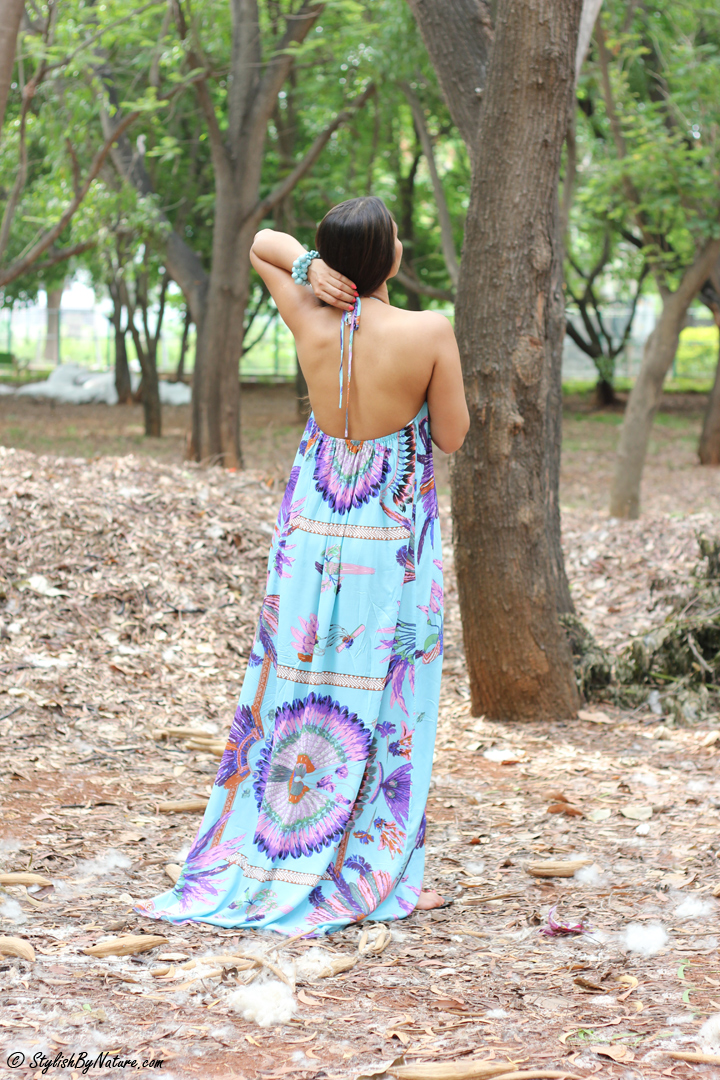 Tropical print Dress, MAxi Dress, Beaded Flats, Colorful Maxi, Backless Dress