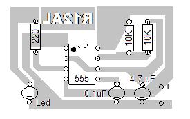 tata letak komponen rangkaian led flip-flop IC 555