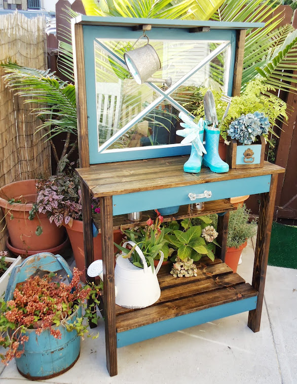 Vintage Window Table/Potting Bench - SOLD