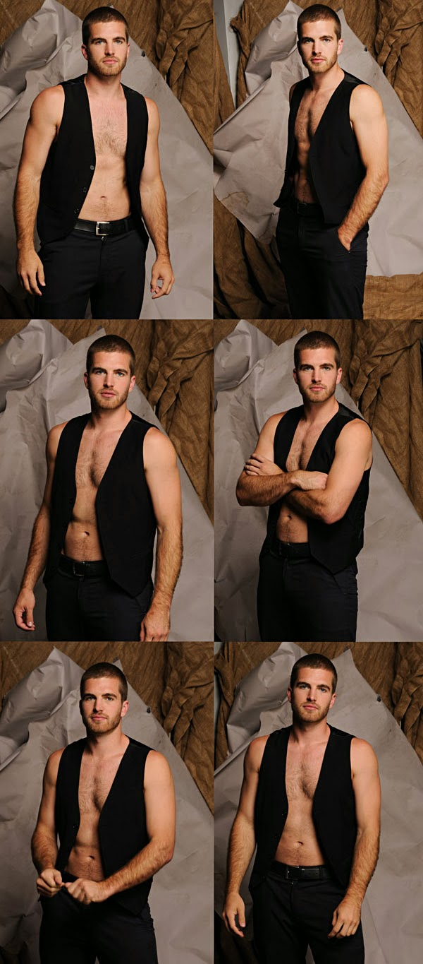 Male Modelling Portfolio, Evan, six variations on a body shot wearing a suit vest. Photographed by Kent Johnson.