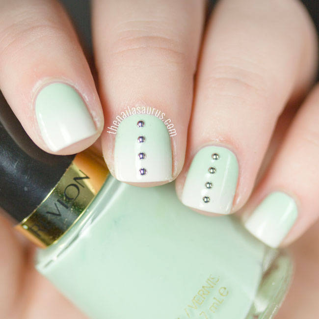 Mint Gradient Nail Art with Studs by The Nailasaurus