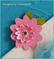 Sparkly flower handmade for shoe box on card