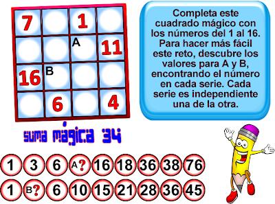 Cuadrados mágicos, cuadrado mágico 4x4, cuadrado mágico de orden 4