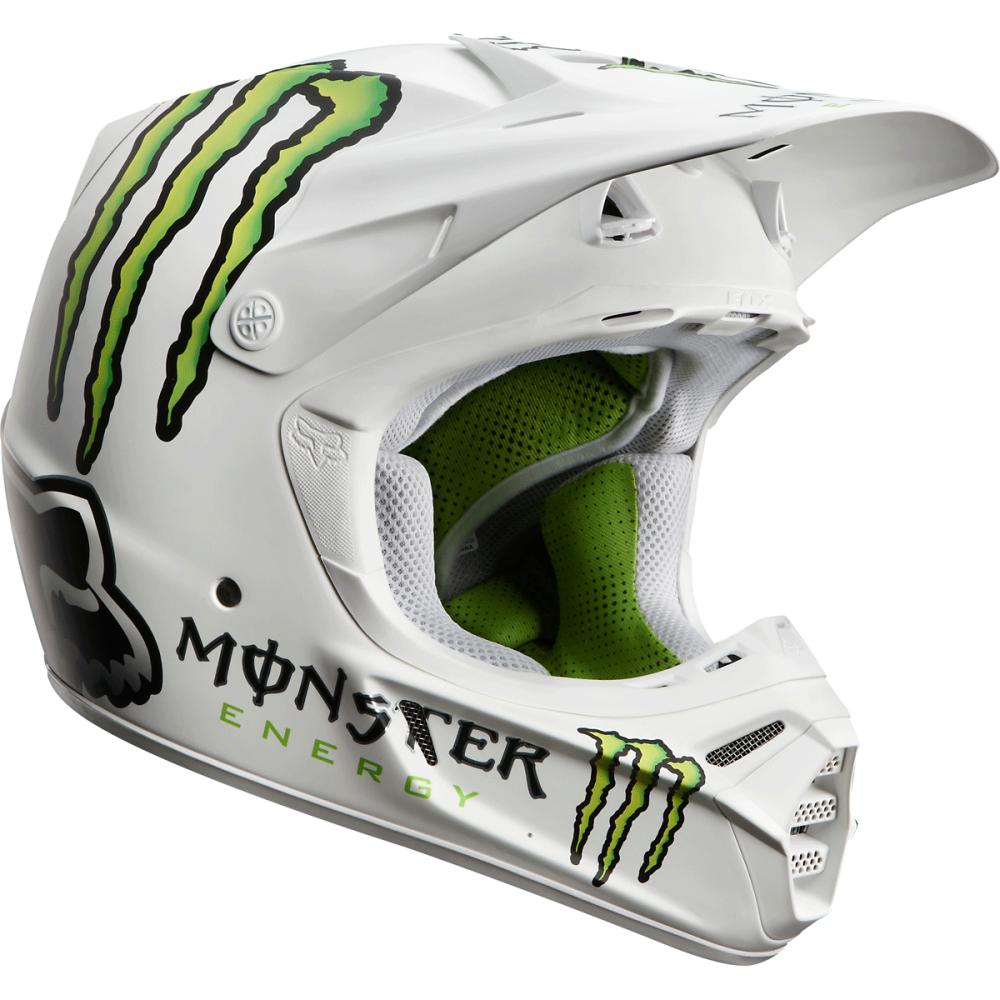 fox monster energy white helmet motocross gear. Black Bedroom Furniture Sets. Home Design Ideas