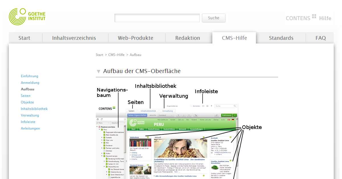 Die projektspezifische Online-Hilfe