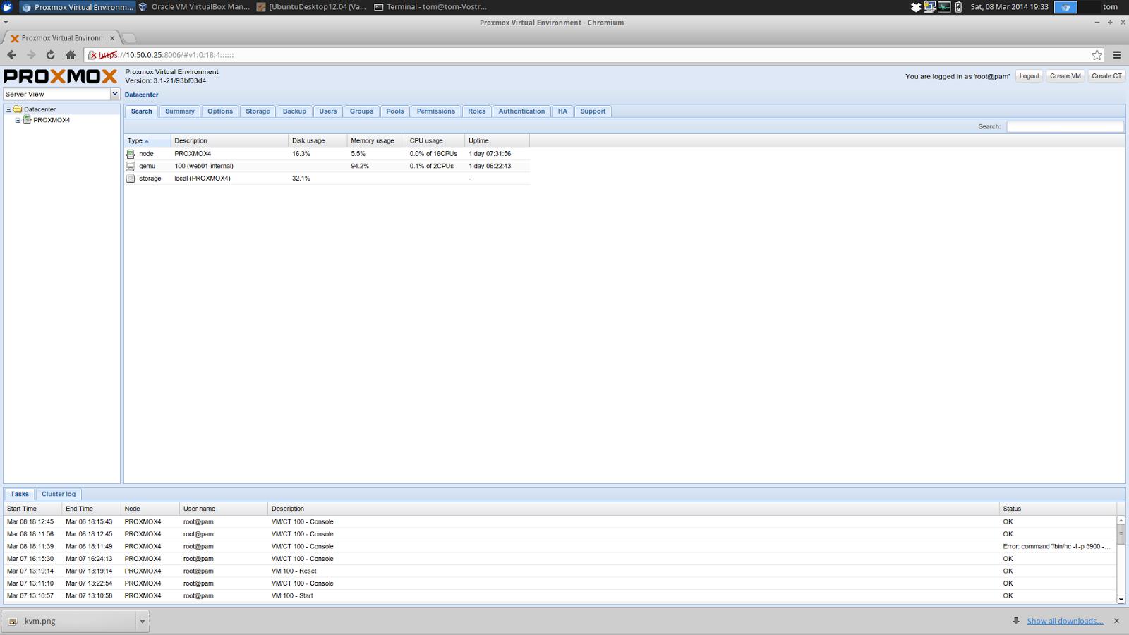 TTB > Toms Tech Blog: KVM/Proxmox   My journey into Open Source