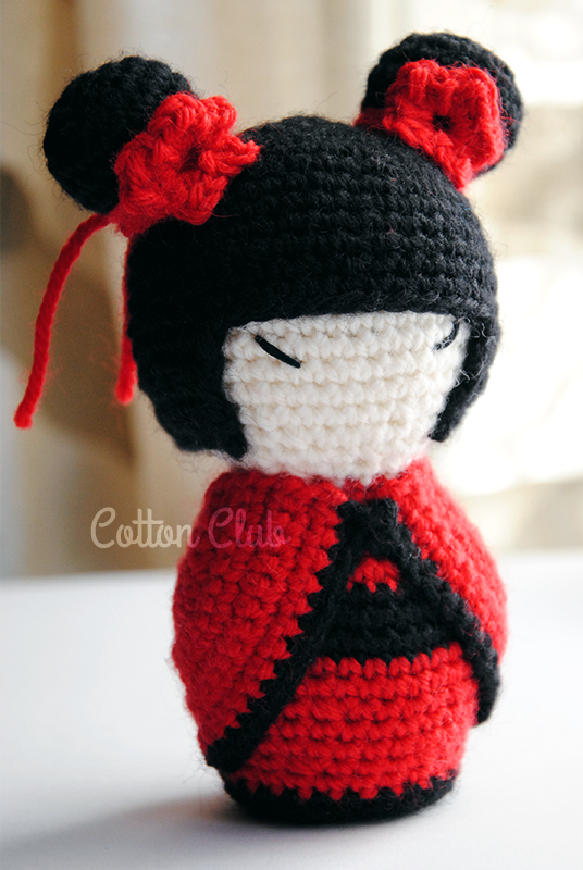 Amigurumi Rose Pattern Free : Cotton Club: Kokeshi amigurumi, schema gratuito in italiano