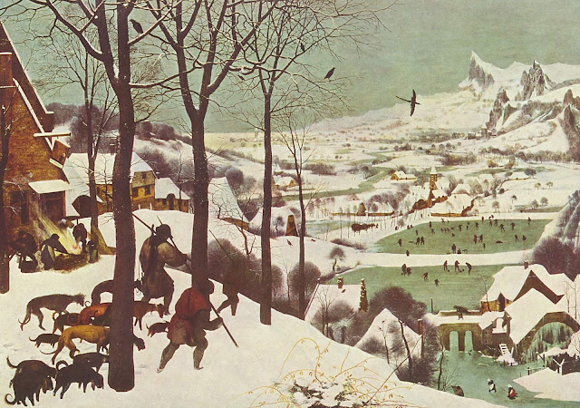 """Hunters in the Snow"" Pieter Bruegel the Elder (1565) flemish painters, winter, hunting scene, hunting dogs, ice skating, coming through the woods to town, returning home"