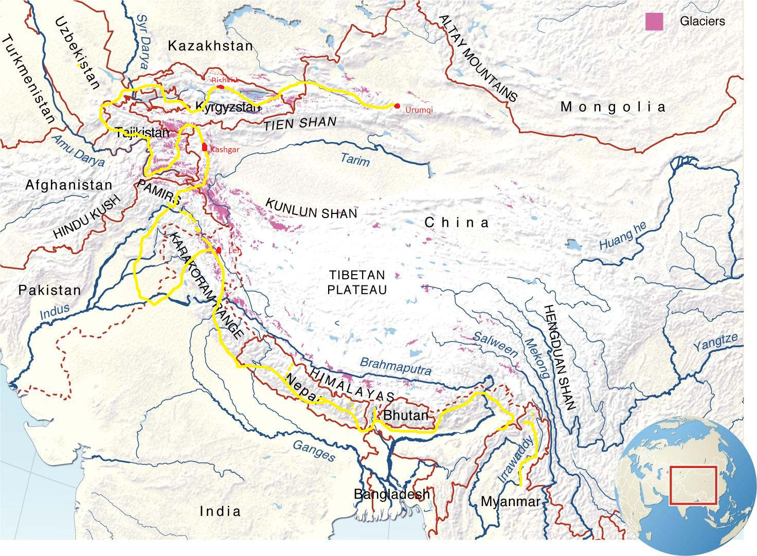 Cycling High Asia: The Mountains of Asia - Maps