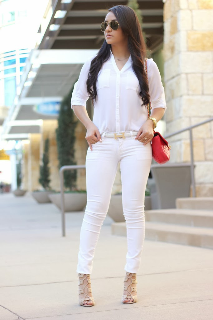 Celebrity Inspired Outfit Eva Longoria White With A Pop
