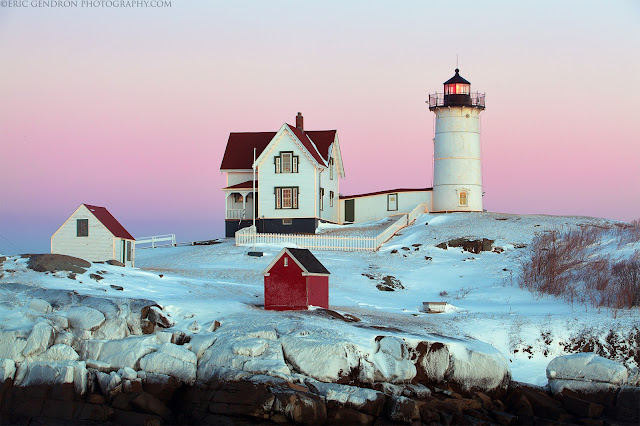 The nubble lighthouse in winter after a storm
