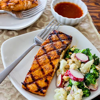Grilled Salmon with a glaze of sugar-free maple syrup, Sriracha, and lime juice.  So easy and delicious!