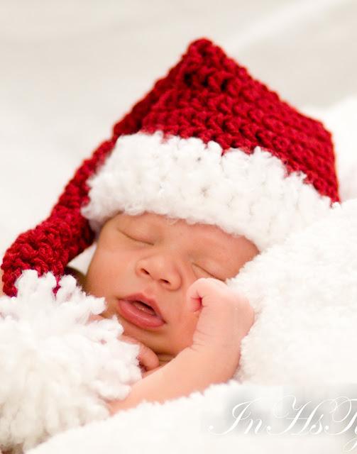 Photo bébé avec bonnet noël