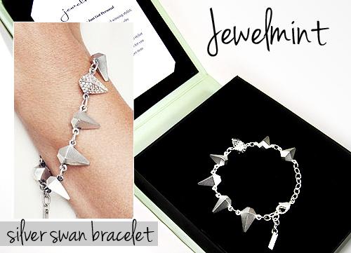 jewelmint silver swan bracelet