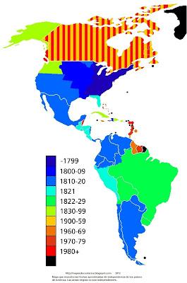 Mapa que muestra las fechas aproximadas de independencia de los países de América. Las áreas negras no son independientes