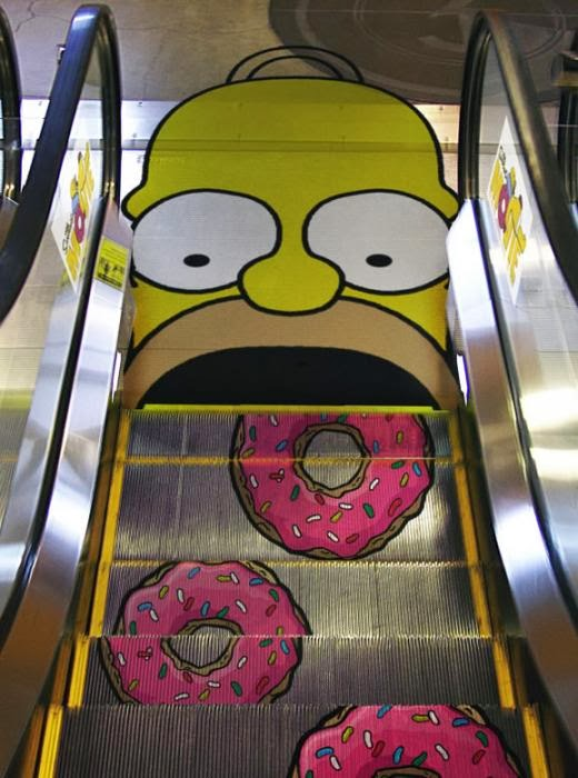 Homer Simpson Ads on escalators