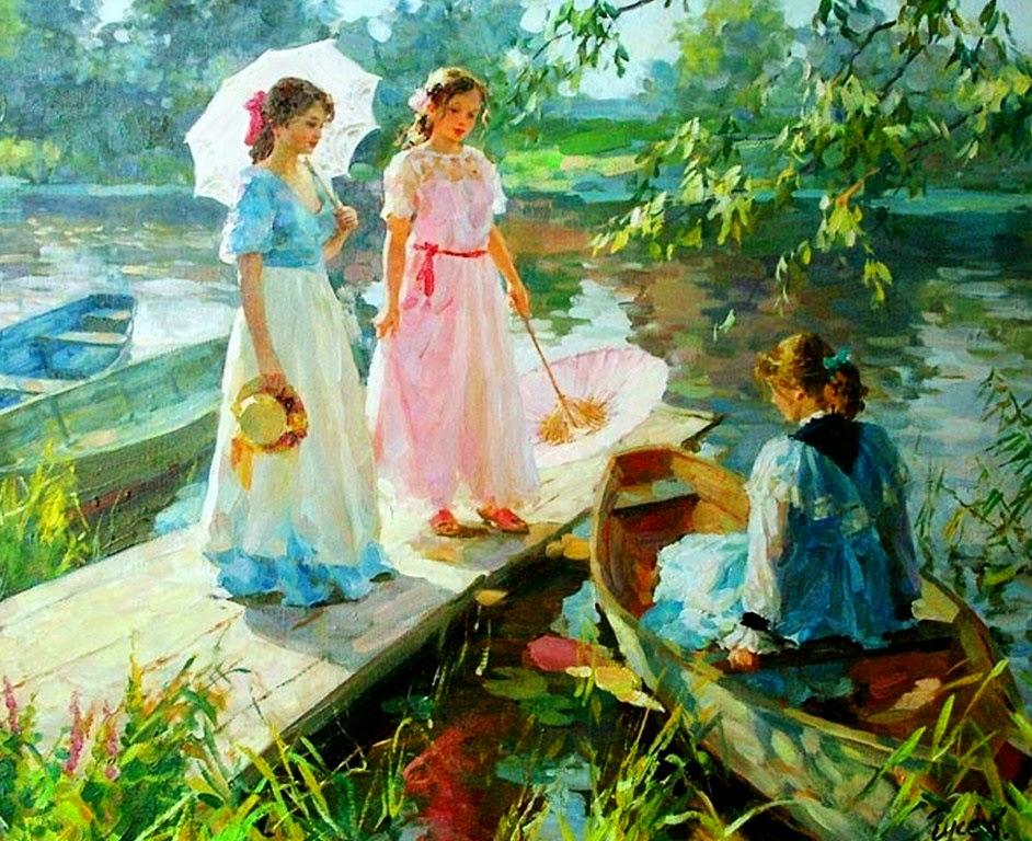 niñas-en-paisajes-impresionistas-al-oleo