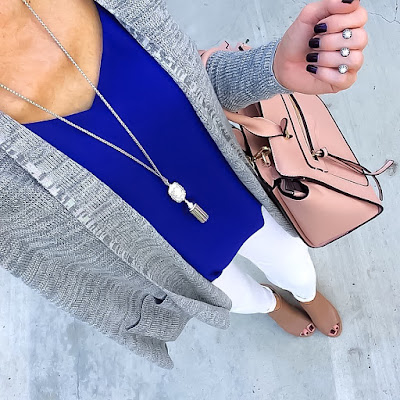 Express Grey cardigan, Tile Blue Barcelona Cami, Kendra Scott Everly Necklace, Steve Madden Nonstp Booties, Dasein Satchel