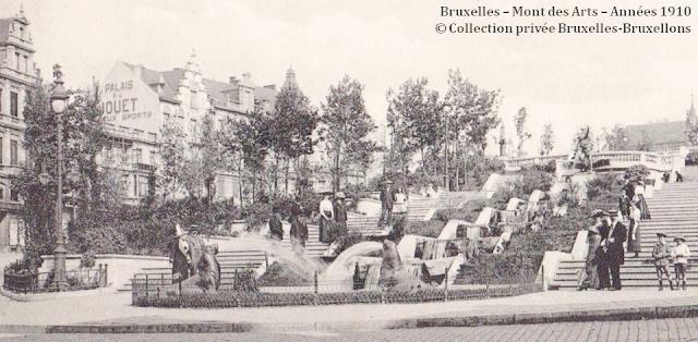 Monts des Arts - Bruxelles disparu - Vue du bas du Mont des Arts vers la place Royale - Côté Nord - Bruxelles-Bruxellons