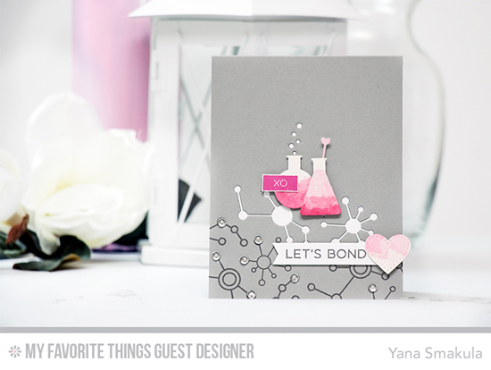 Let's Bond Card by Yana Smakula featuring the Label Maker Love and Laina Lamb Design Undeniable Chemistry stamp sets, and the Stitched Heart STAX and Laina Lamb Design Chemistry Set Die-namics #mftstamps