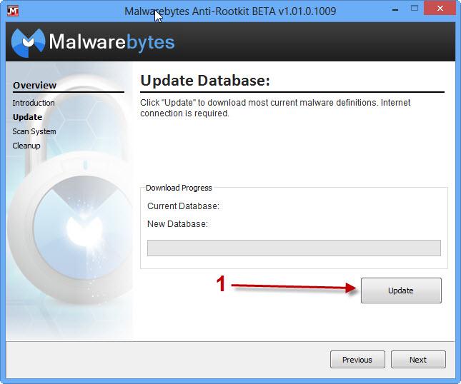 Premi Update per aggiornare il database di Malwarebytes Anti-Rootkit