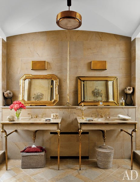 Gold and marble master bathroom in Stefano Pilati of Zegna's Paris duplex