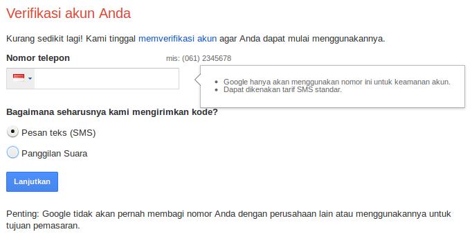 pilih verifikasi akun google