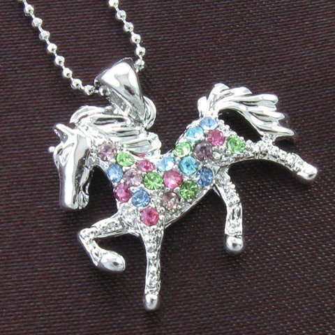 multicolor pony horse pendant necklace