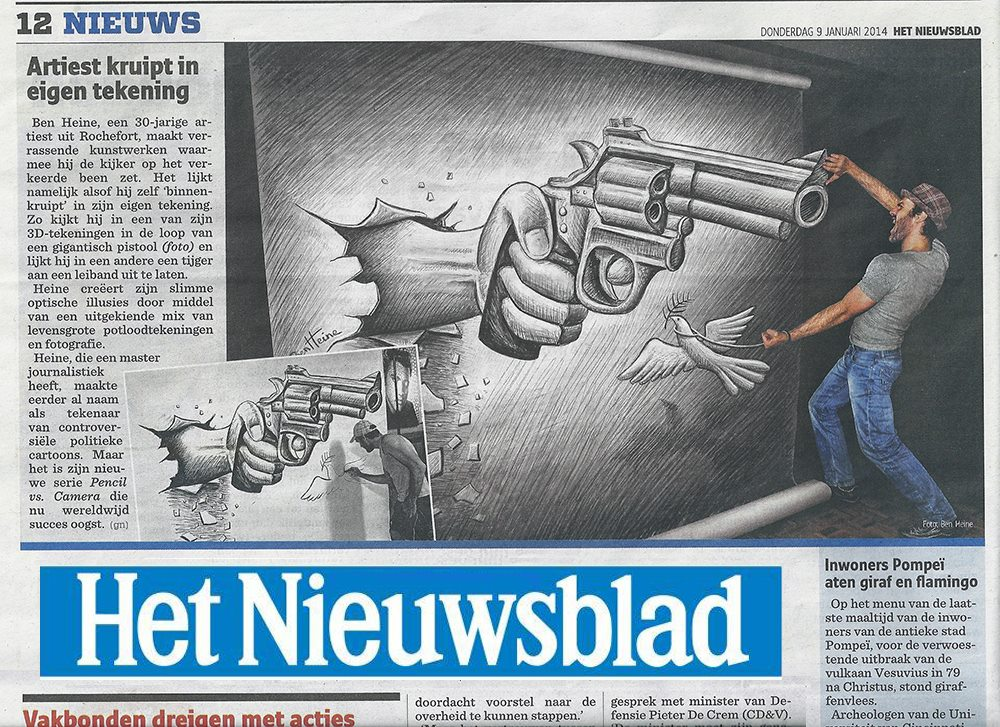 Ben Heine Art - News Article in Het Nieuwsblad - Belgium (January 2014)