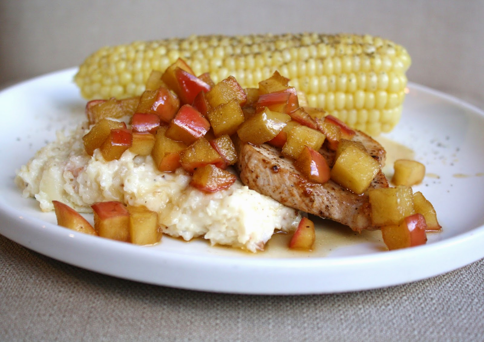 Pork Chops With Apples And Creamy Bacon Cheese Grits Recipes ...