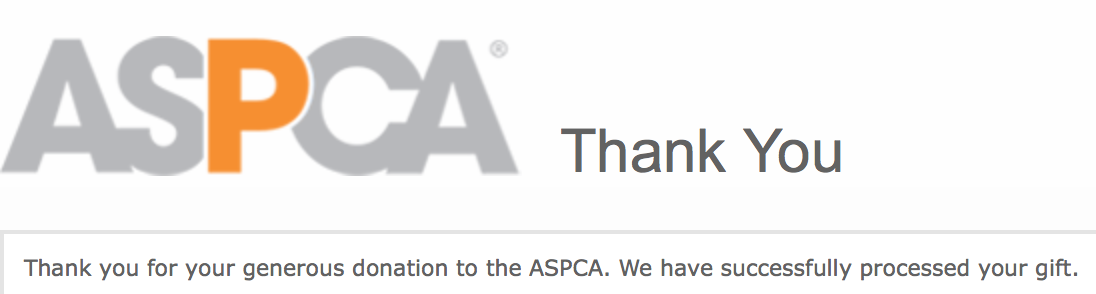 Our ASPCA Donation