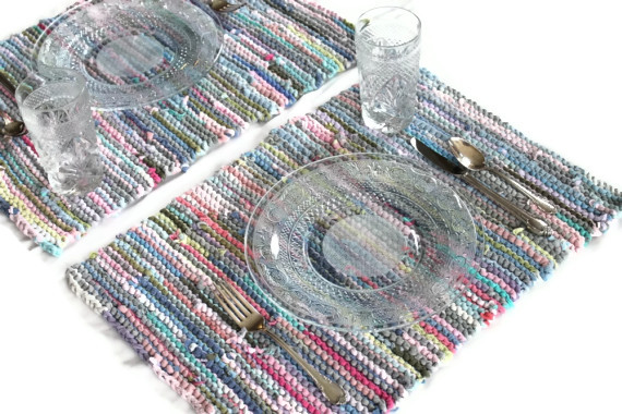 placemats knitted pastel spring cottage chic shabby upcycled tshirts by Handiworkin' Girls