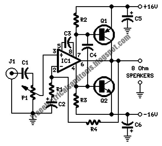 free schematic diagram  7 watt class b audio amplifier circuit