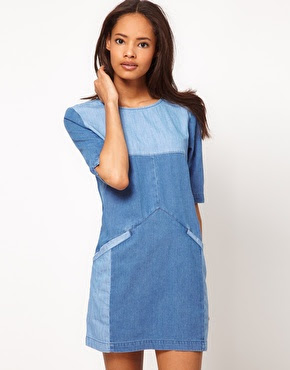 ASOS Colour Blocked Denim Shift Dress