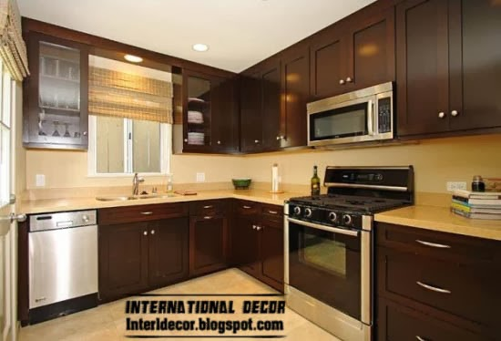 Smart designs of L-shaped kitchen, brown kitchen