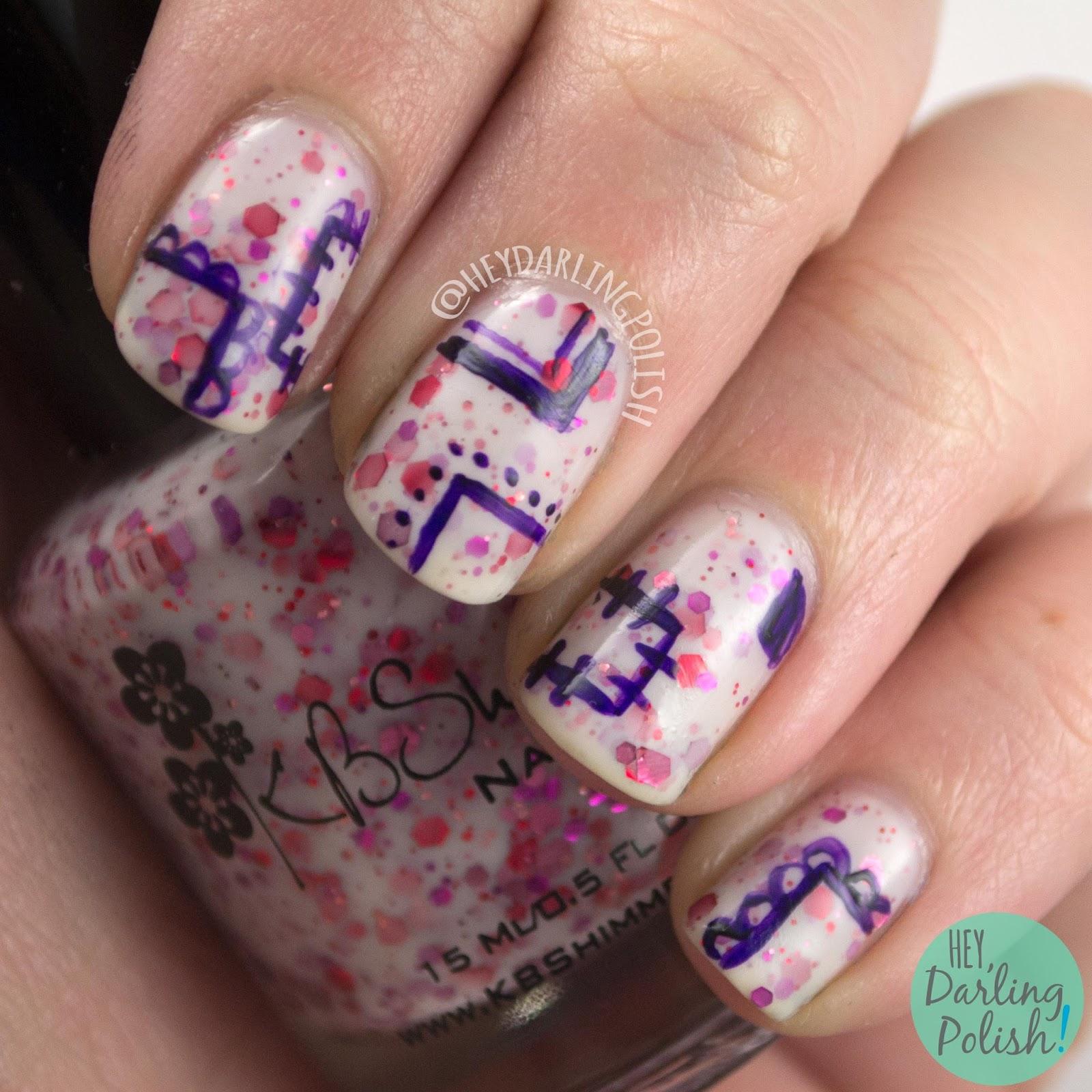 nails, nail polish, kbshimmer, pink, indie polish, hey darling polish, falling for hue, glitter crelly