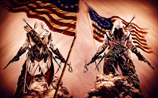Assassin's Creed 3 Ezio Front and Back View American Flag Background