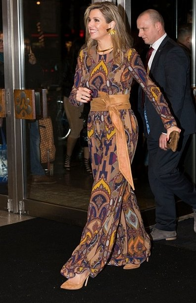 Queen Maxima attends the official opening of the 45th edition of Rotterdam International Film Festival. Queen Maxima wore a ETRO Printed stretch crepe jumpsuit.