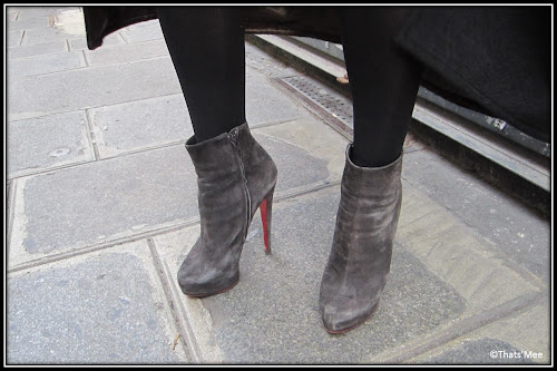 boots Louboutin Daf Booty suede velours gris Marie Laffont design 16cm