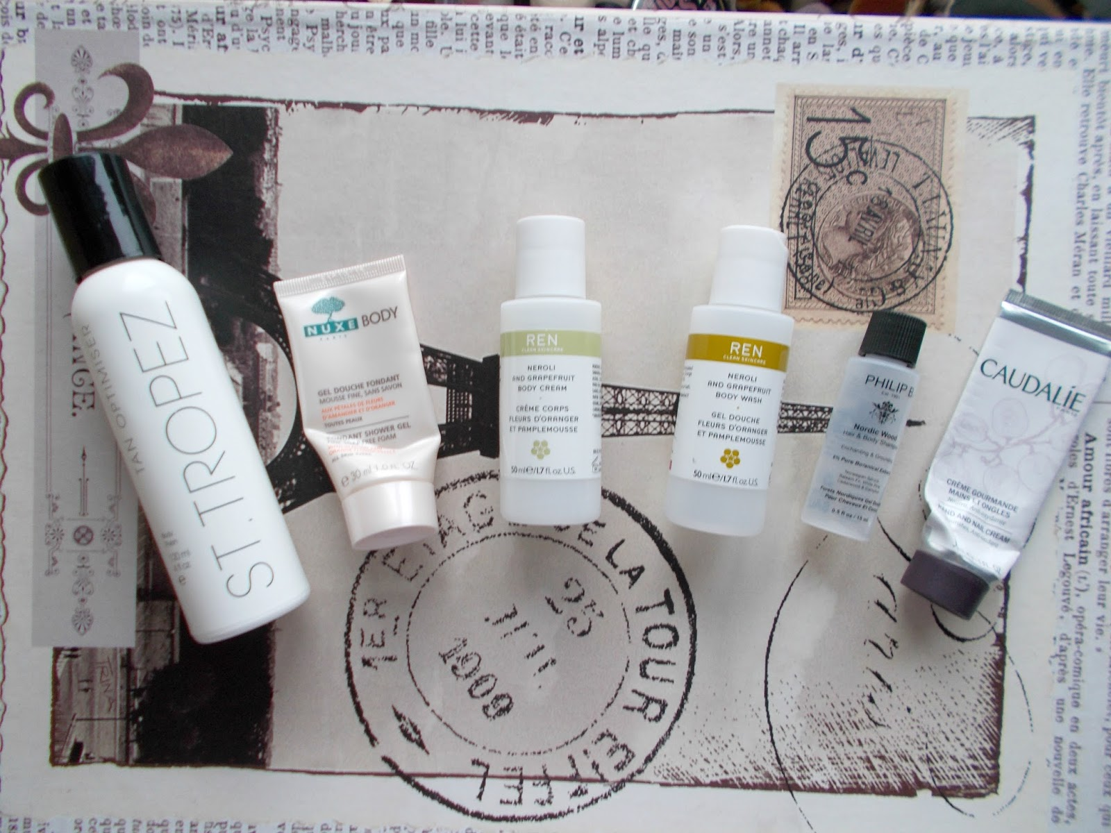 product empties body care review st tropez ren nuxe caudalie philip b review
