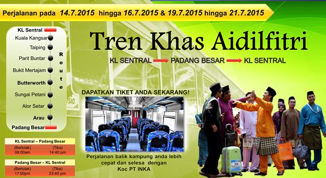 Tren Khas Aidilfitri KL Sentral ke Padang Besar