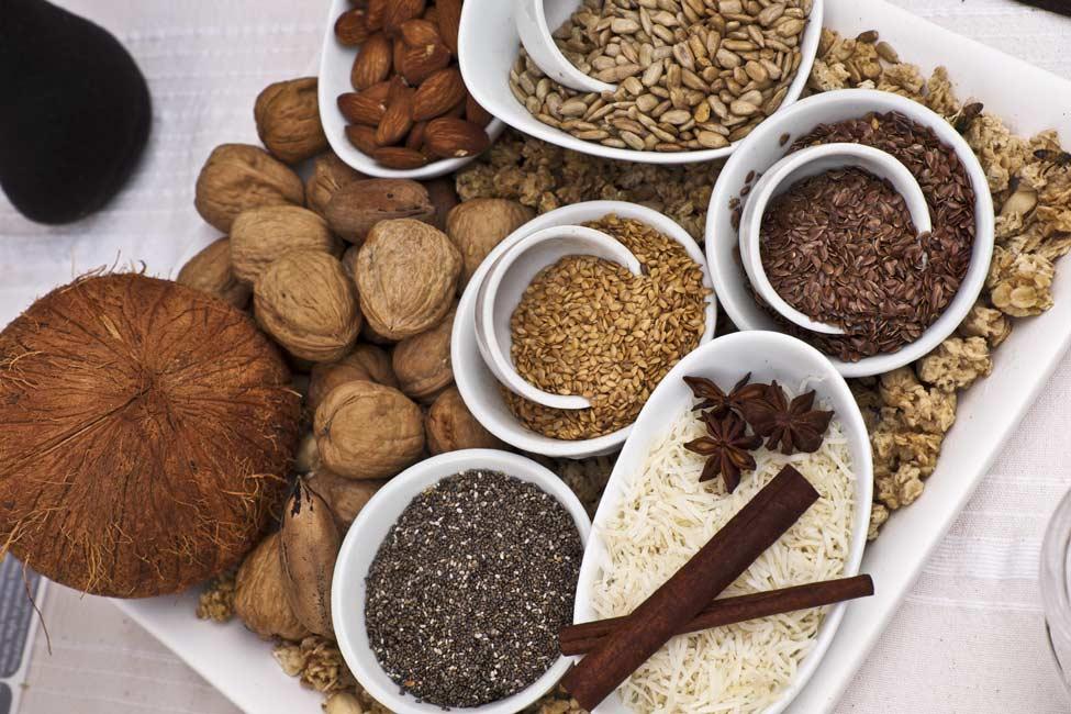 Display of nuts, seeds and Grainola