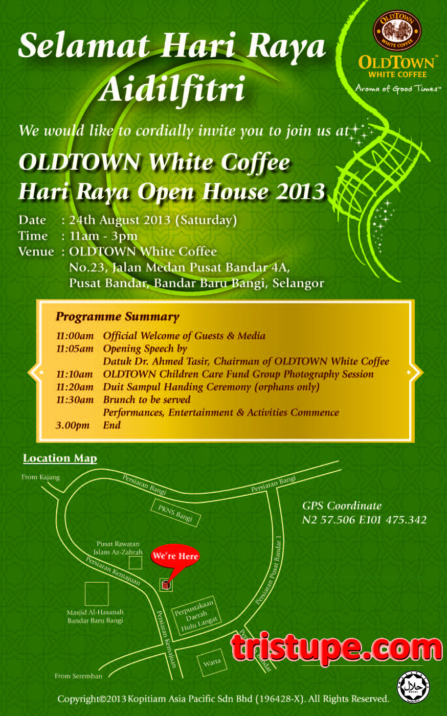 Press release old town white coffee raya open house tristupe this is oldtowns first open house and we would like to make this event special and as exciting as possible for everyone said datuk tasir stopboris Choice Image