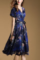 New 2016 V-wrap Sapphire Blue Floral Flare Dress
