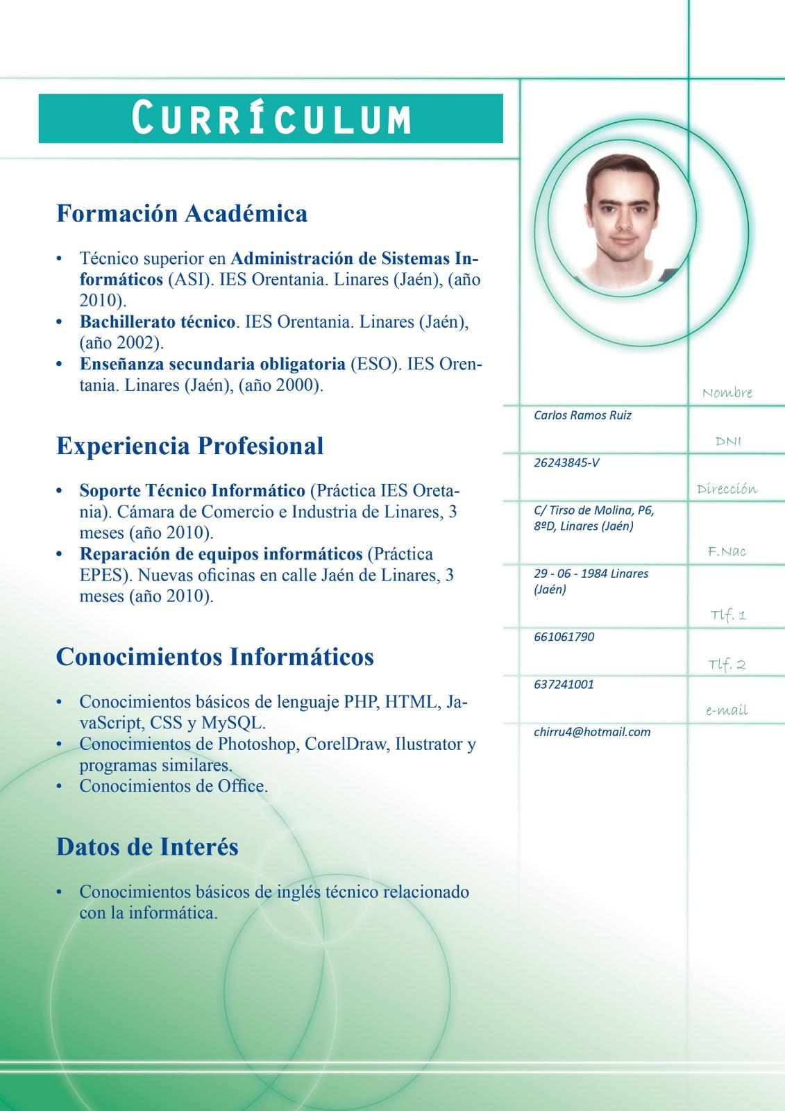 4-carlosdisenografico: InDesign - Ejercicio 07 - Currículum