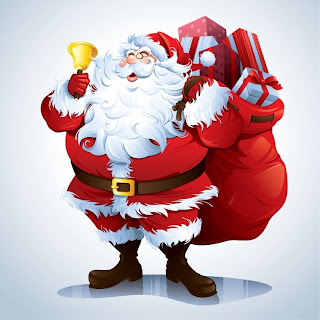 Santa Claus smiling face clip art picture with Christmas gifts in his bag
