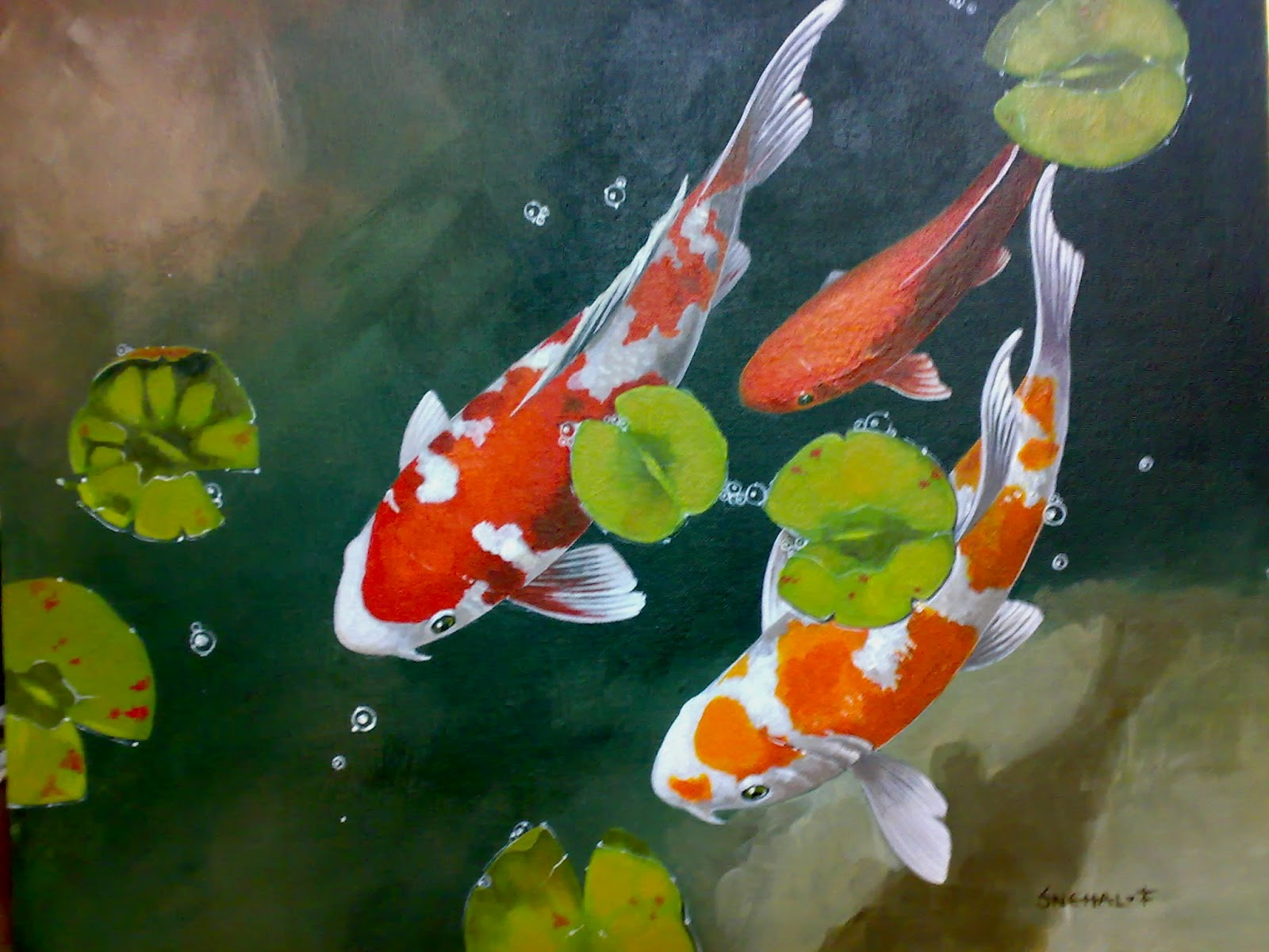 Related keywords suggestions for koi acrylic paintings for Japanese koi carp paintings