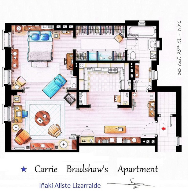 Carrie Bradshaw 39 S Apartment Floor Plan All Sketched Out